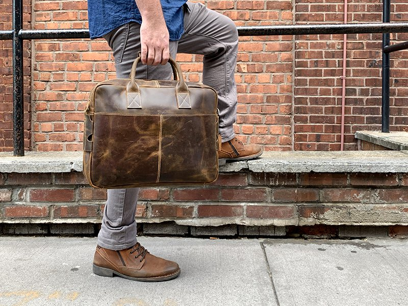 The Welch Briefcase   Vintage Leather Messenger Bag