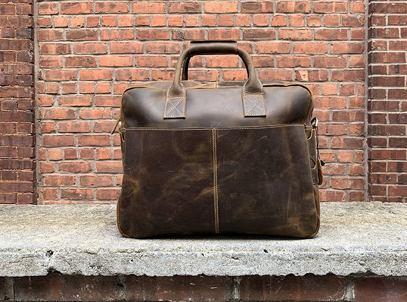 aged leather briefcase