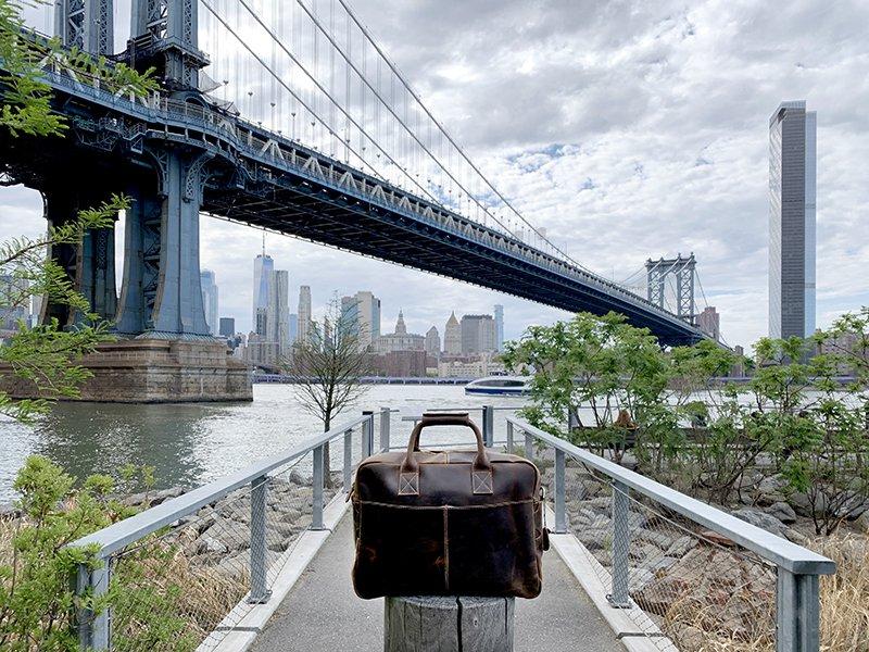 Vintage full-grain leather messenger bag