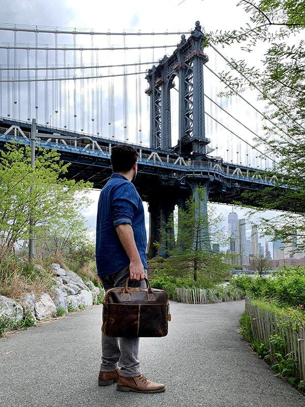 Leather Messenger Bag New York