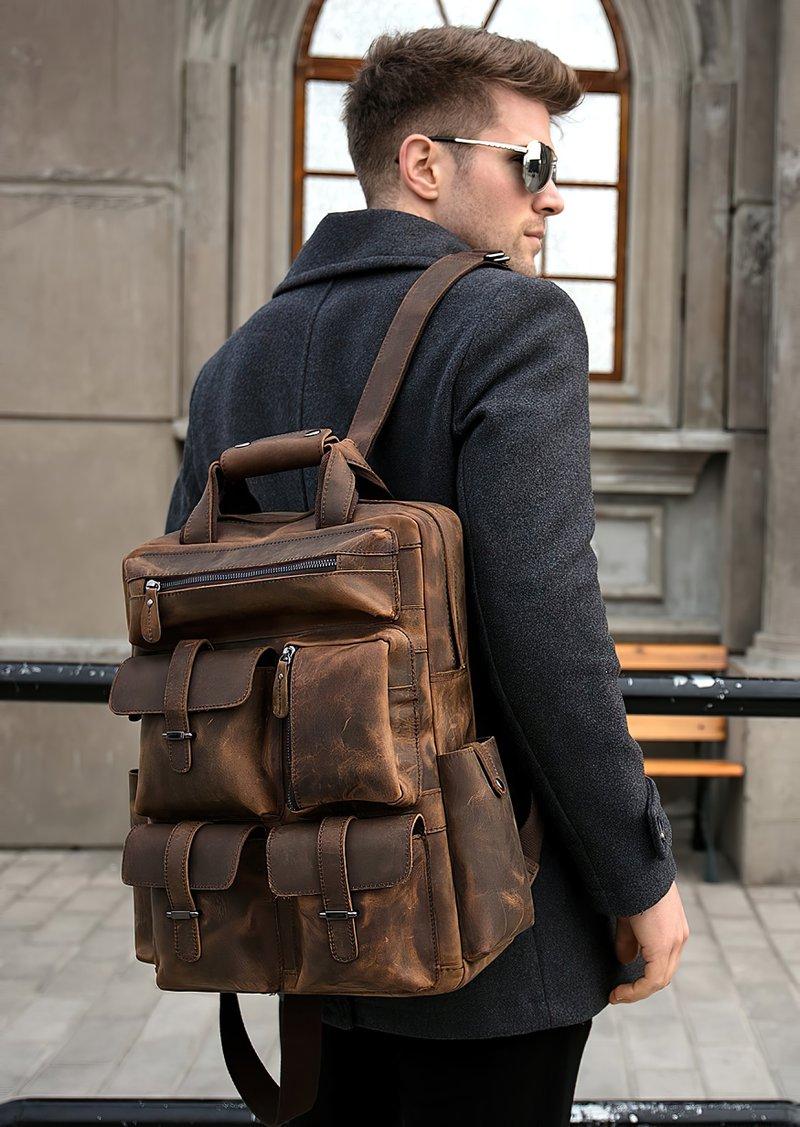 Men's Handmade Genuine Leather Backpack gift