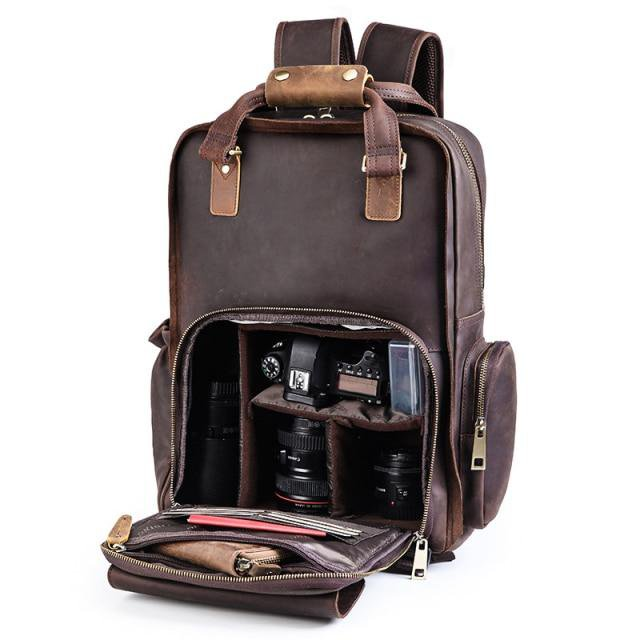 Large Leather Backpack Camera Bag with Tripod Holder