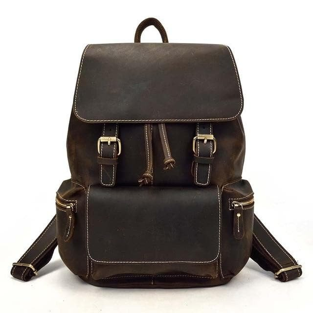 Grain Brown Leather Backpack