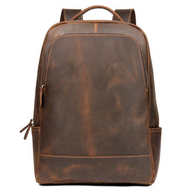 Genuine Vintage Leather Minimalist Backpack