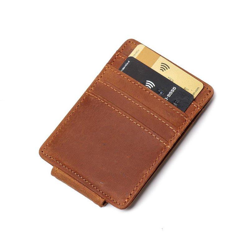men's Handmade Leather Front Pocket Wallet with Money Clip