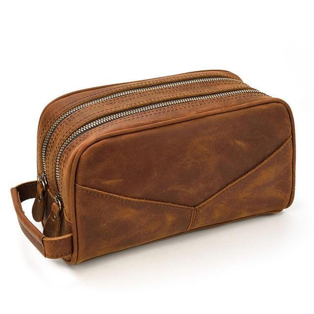 Genuine Leather Travel Toiletry Bag