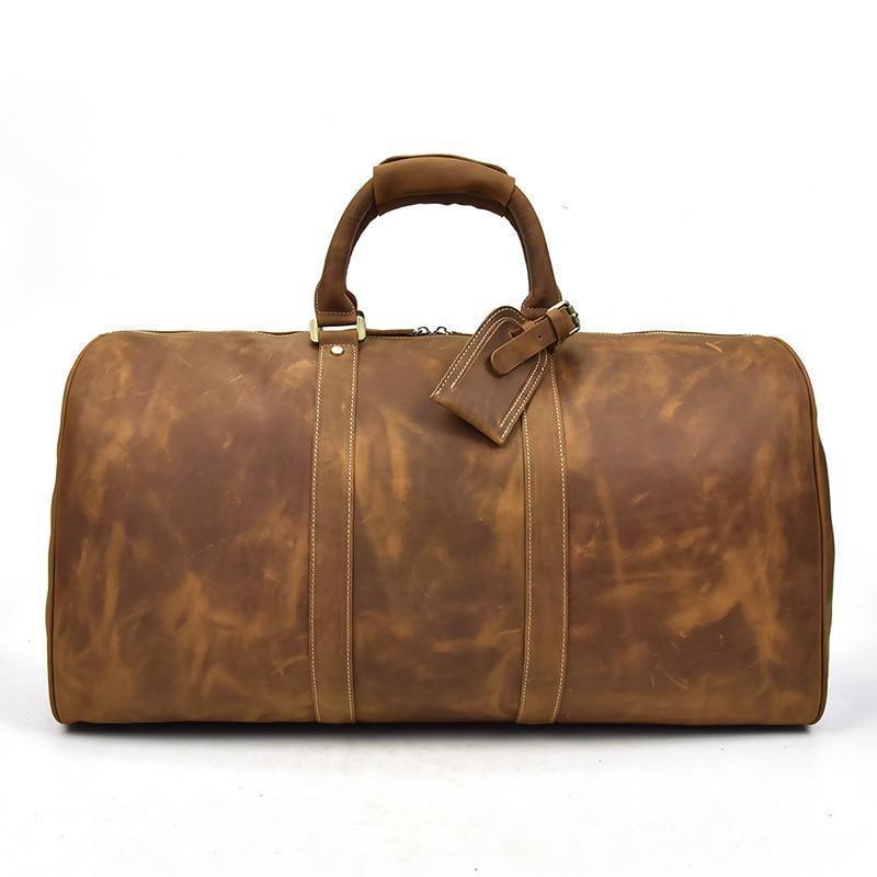 Full-grain leather duffel bag