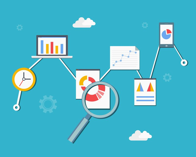 Web statistics and analytics infographics diagram vector illustration in flat style