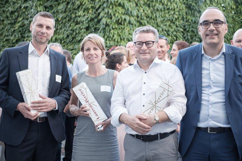 Ivan Blauwhoff (voorzitter IGEMO), Greet Geypen, Koen Van den Heuvel en Peter De Bruyne.