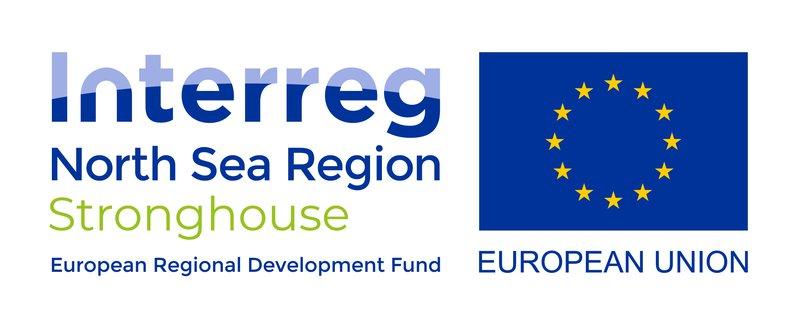Logo Interreg North Sea Region Stronghouse, een initiatief van de Europese Unie