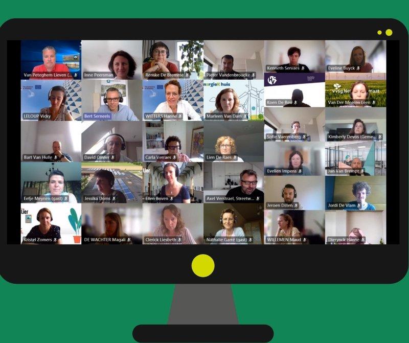 De deelnemers van de digitale workshop binnen het project PentaHelix in beeld.