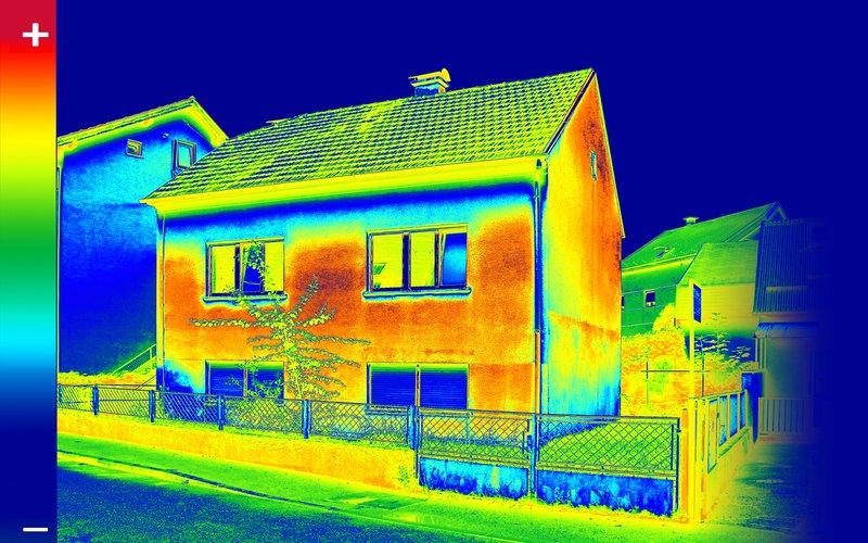Thermografische scan van een woning.