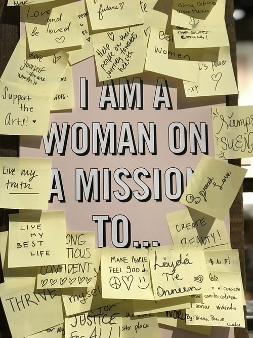 "Test reading ""I am a woman on a mission to"" with lots of sticky notes with ideas surrounding it"