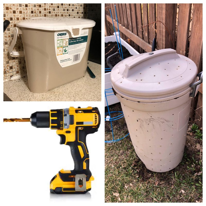kitchen compost pail, drill, and outdoor compost bin how to diy