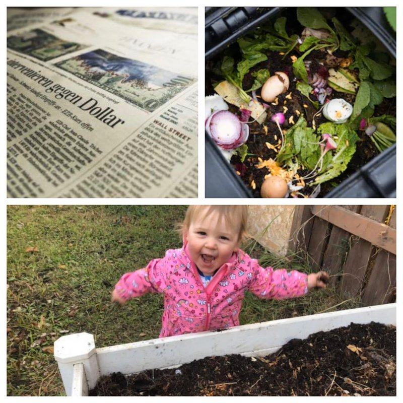 how to compost ingredients, newspaper and kitchen scraps over a garden with a toddler