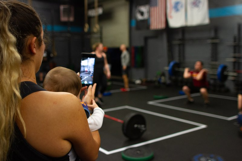 Super cool family that goes to my gym, she was taking pics of her husband as the baby chilled in his pack.