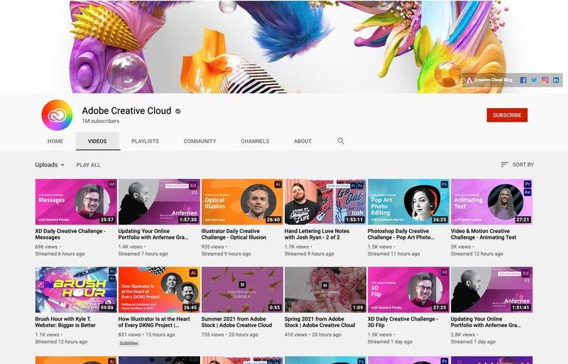 Adobe Creative Cloud YouTube Channel. Improve your design skills