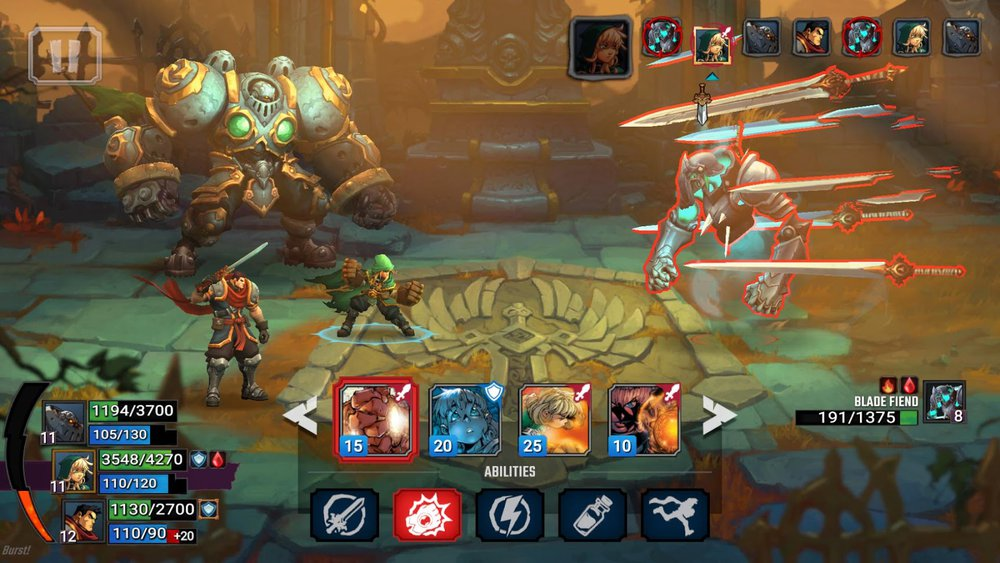 A screenshot of a battle in Battle Chasers: Nightwar. The artwork here is really well done.