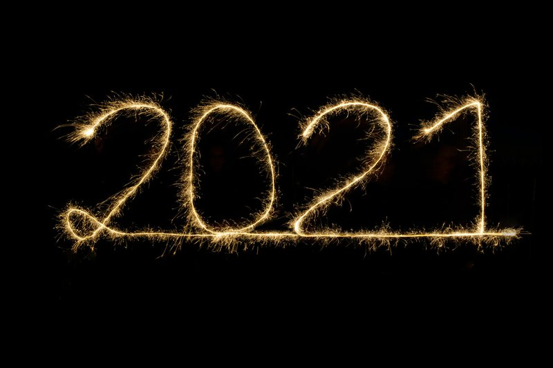 2021 written with sparkler, happy new year, new years eve