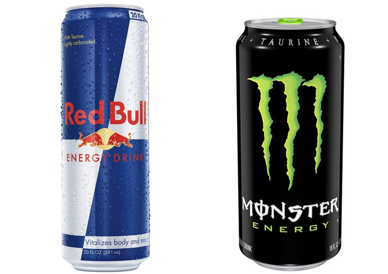 Red Bull can on the left and Monster can on the right