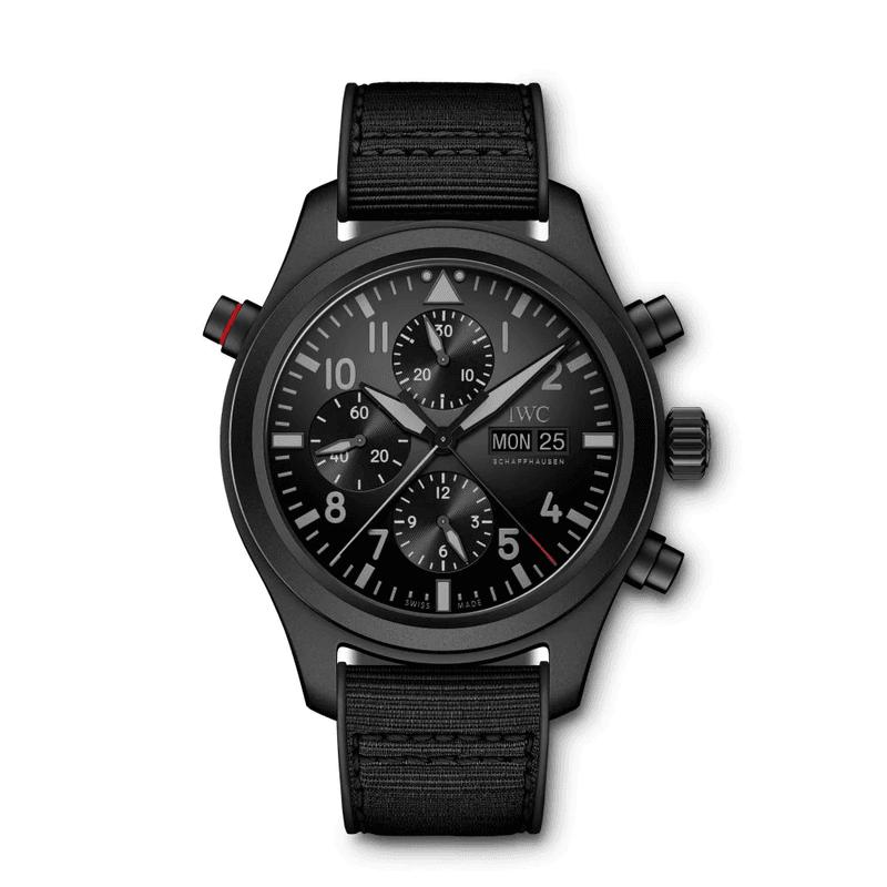 Zwarte horloges: IWC - Pilot's Watch Double Chronograph TOP GUN Ceratanium - prijs € 12.700