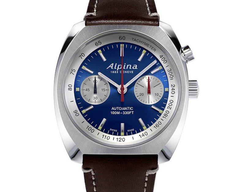 Alpina horloges: Het nieuwe Alpina horloge: Alpina horloge Startimer Pilot Heritage Chronograph Blauw wijzerplaat met zilver, stalen kast Ref. AL-727LNN4H6 - prijs € 2.895 euro