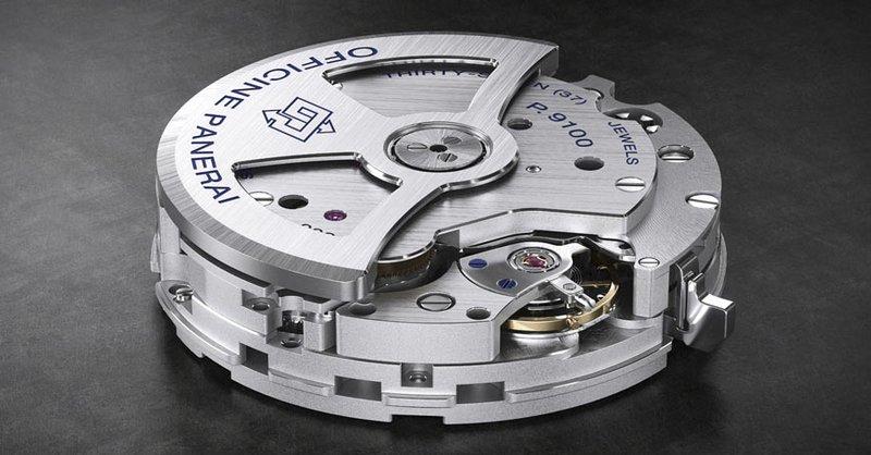 Panerai horloges: Officine Panerai - calibre P.9100 - flyback / chronograaf movement