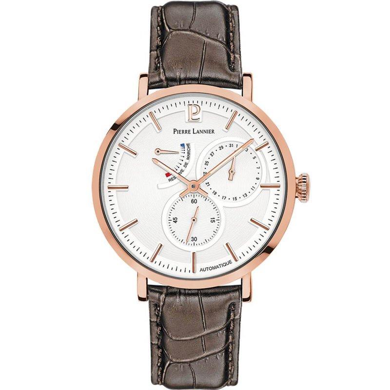 Pierre Lannier rosé gouden horloge met een bruin leer croco look en een witte wijzerplaat.