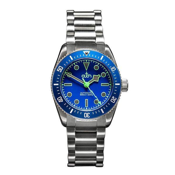 """Octon Watches - """"Neptune Blue"""" - Automatisch Duikershorloge NH35a met Rubber band (Blauw, Zilver + Stalen Band)"""