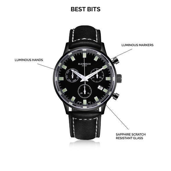 De grootte van de horloge wijzerplaat - voorbeeld Blenheim London horloge