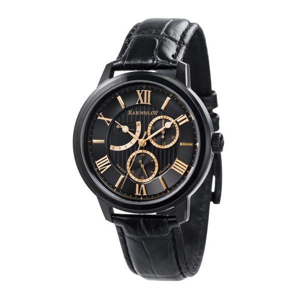 "Earnshaw 1805 - ""Cornwall"" Multi Functie, Dag & Datum - Herenhorloge ES-8060-05 (Zwart met Goud)"