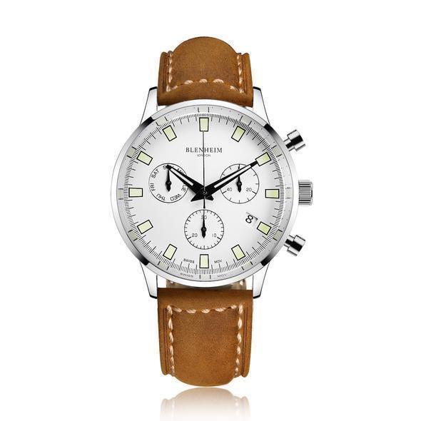 """Blenheim London® """"Chronomaster"""" Pilot - Unisex Horloge (Zilver, Wit met Bruin Leren band)"""