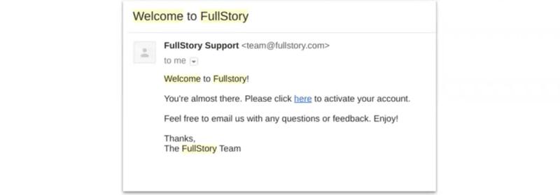 FullStory's original onboarding sequence step 3