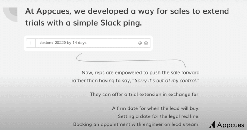 extending sales with a Slack ping