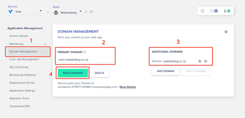 cloudways domain settings for how to start a blog