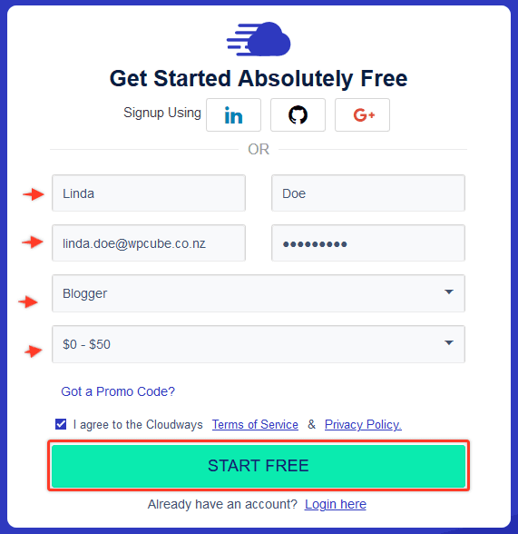 sign up with cloudways to star a blog