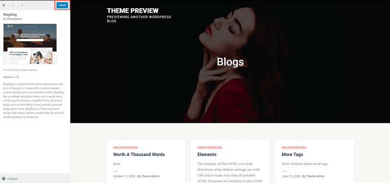 how to install a theme