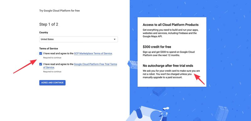 Google Cloud terms and conditions