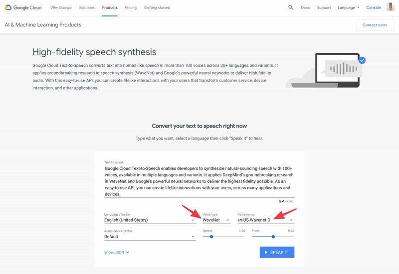 Google Text-to-Speech WaveNet voices