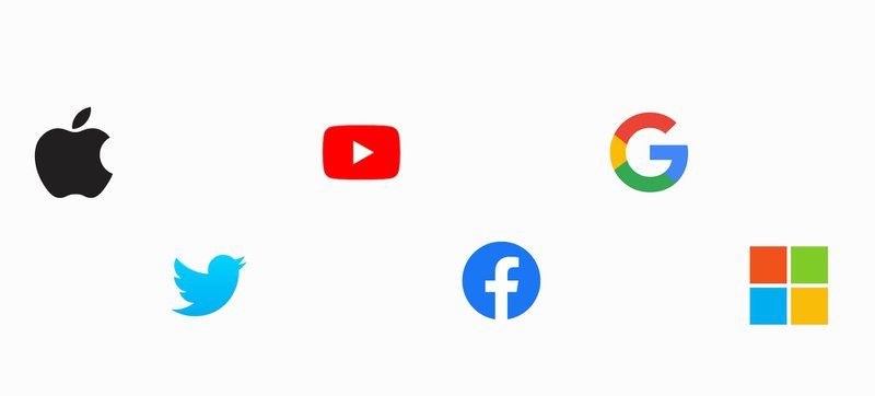 Brand symbols for Apple, Twitter, YouTube, Facebook, Google, and Microsoft