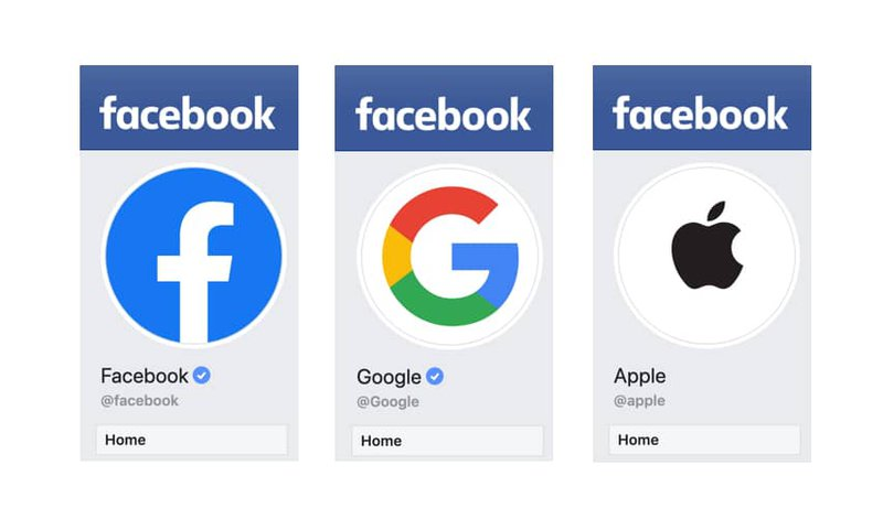 Twitter pages belonging to Facebook, Google, and Apple