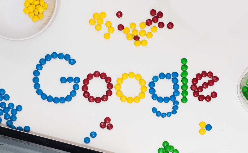 The Google logo spelled out with M&Ms
