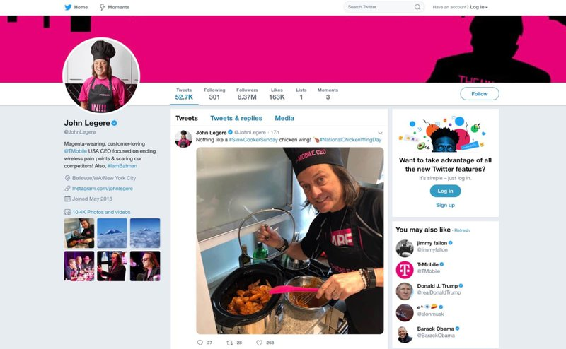 John Legere's Twitter page showing him dressed on-brand.
