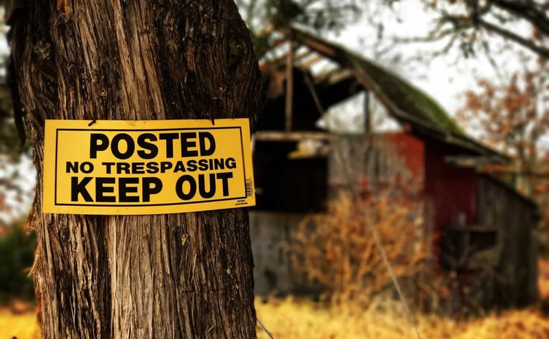 "A tree with a ""Keep Out"" sign"