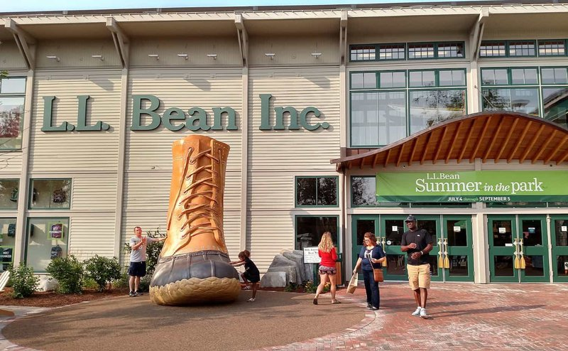 Thee giant Bean Boot in Freeport, ME.