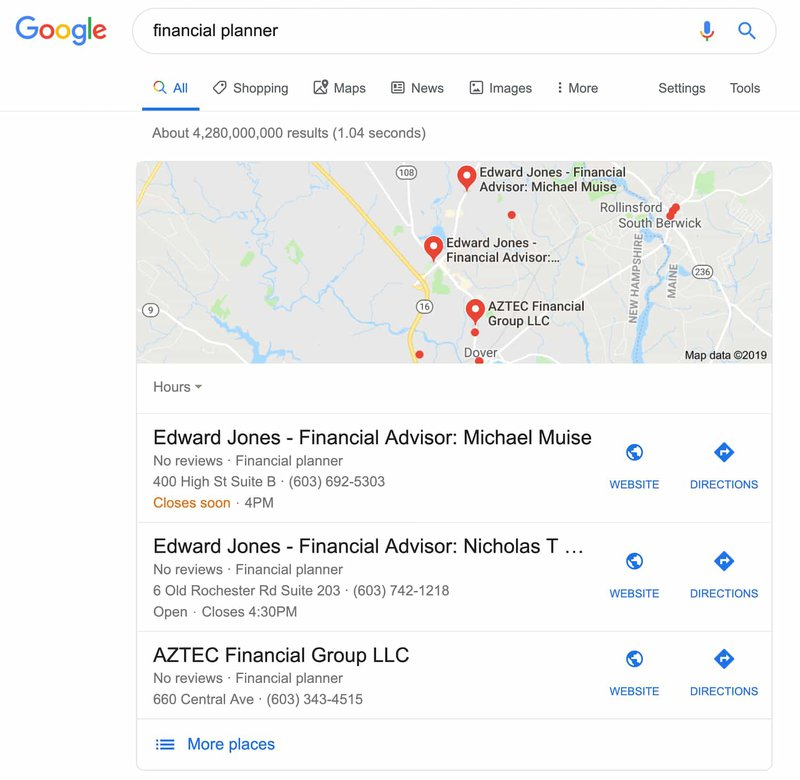 Google My Business features local search results.