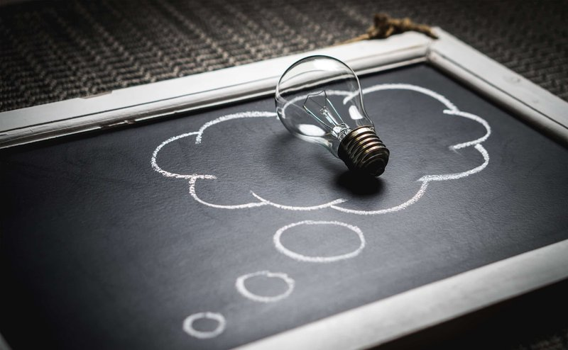 A branding metaphor using a lightbulb and idea cloud