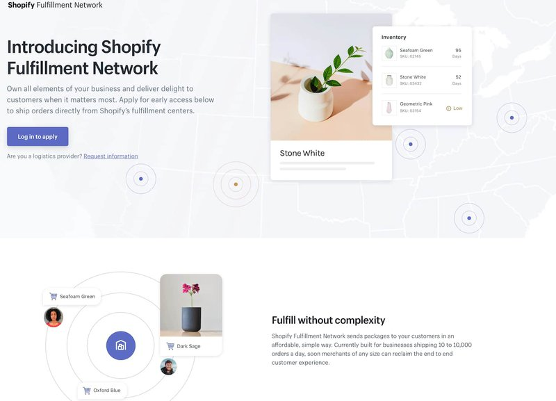 Shopify's fulfillment network offering.