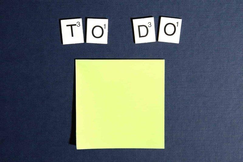 """To Do"" spelled above a sticky note"