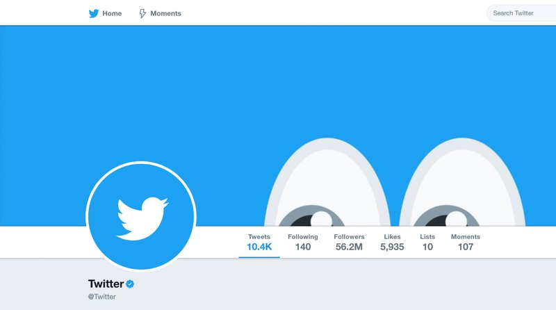 Twitter's brand symbol on their Twitter page